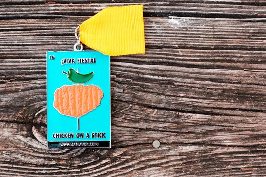Chicken on a stick Loteria Card Fiesta Medal
